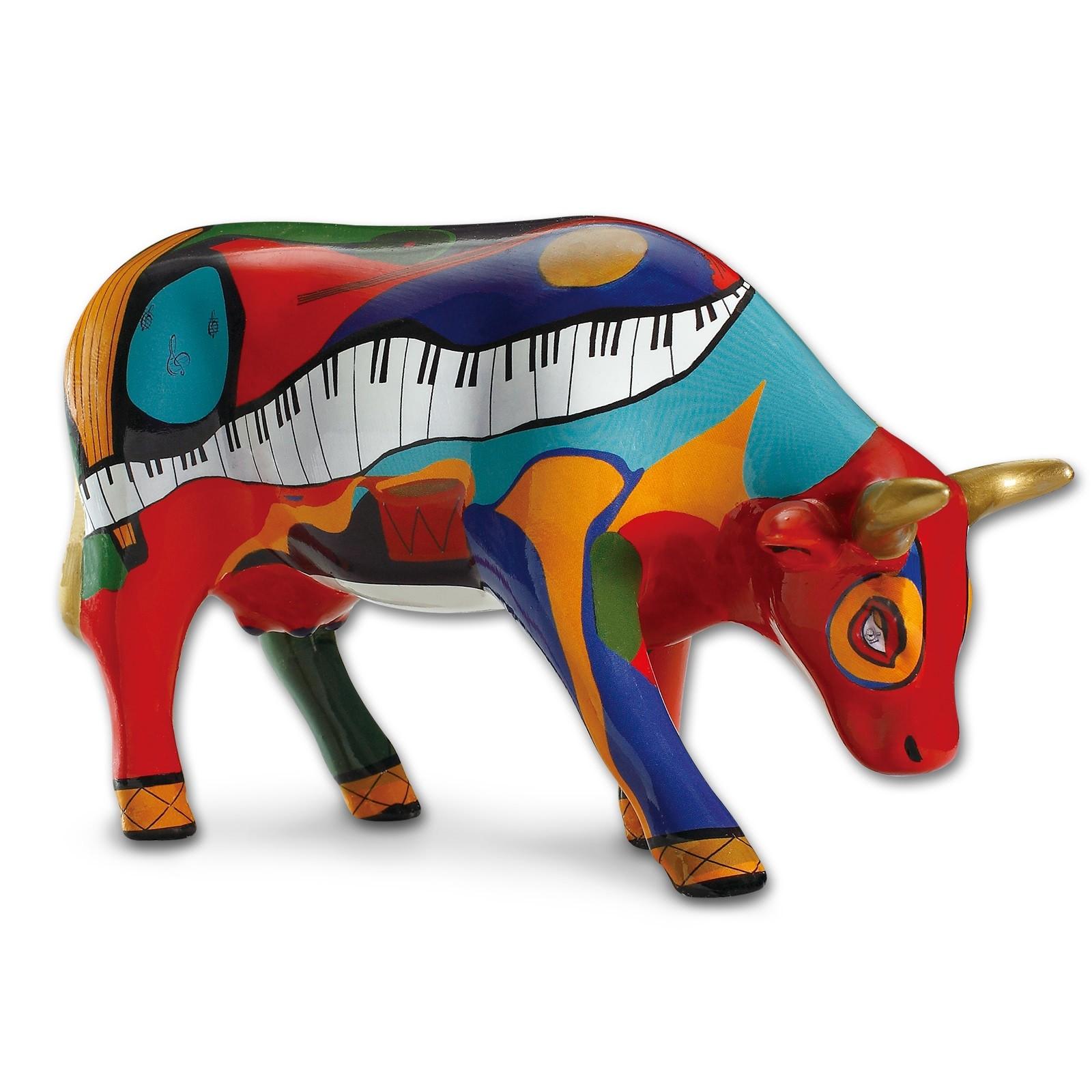 Design Kuh mit verschiedenen Instrumenten 10cm Köthen Kuhparade KOS104