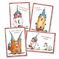 PostkartenSet 4 Köthen Karten mit Halli, Magda und Jakob zum Verschicken KOM049