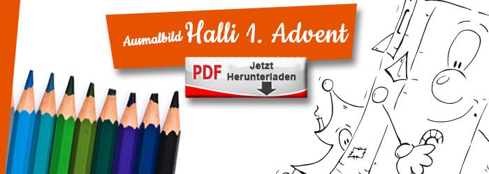 Halli wünscht einen schönen 1. Advent als Ausmalbild PDF herunterlanden