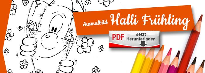 Halli im Frühling als Ausmalbild PDF herunterlanden