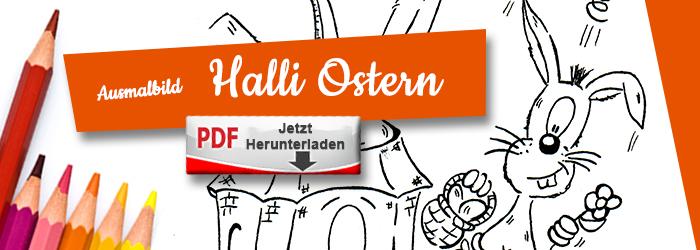 Halli wünscht frohe Ostern als Ausmalbild PDF herunterlanden