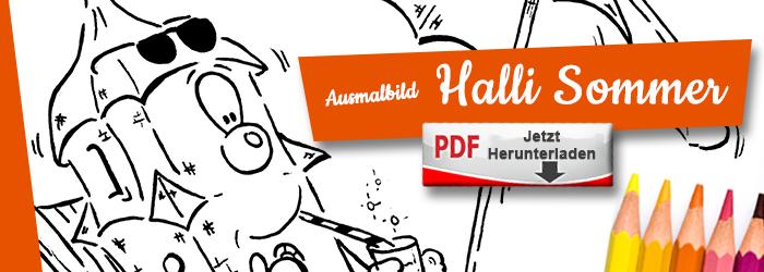 Halli genießt den Sommer in Köthen als Ausmalbild PDF herunterlanden