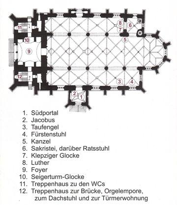 Grundriss der Jakobskirche Köthen